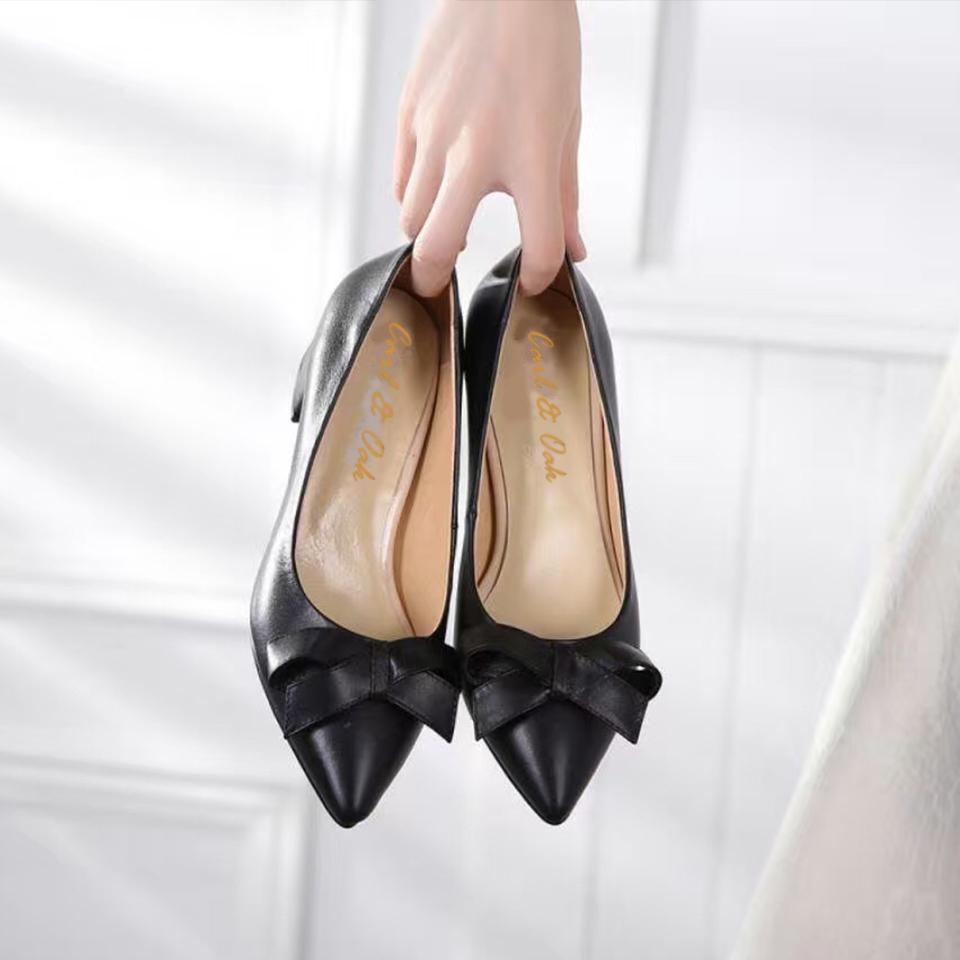 black leather heel side
