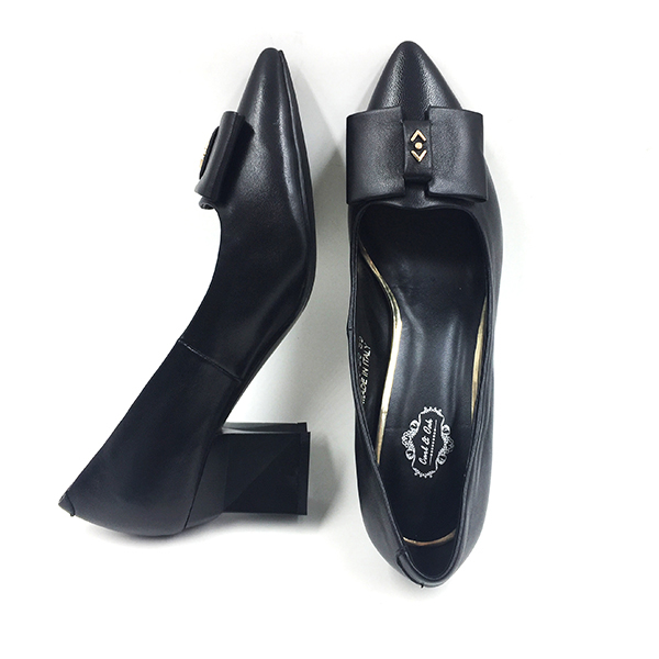 Black Leather Block Pump Heel