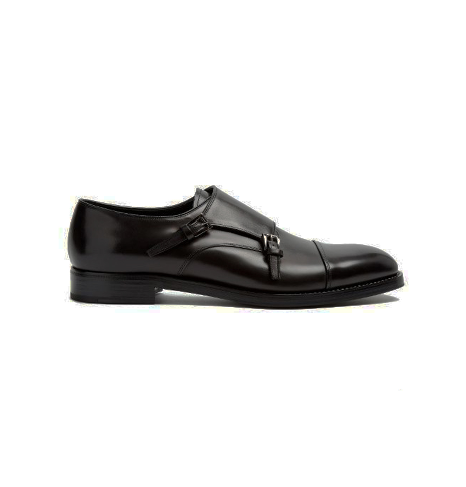 Black Double Monkstrap Slip On