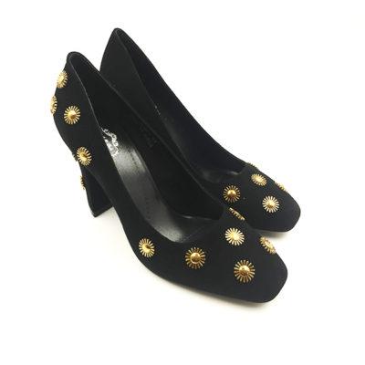 Black Suede Block Pump Heel