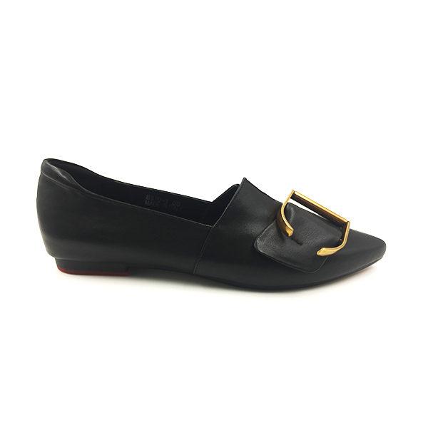 Embellished Black Textured Flat Shoes