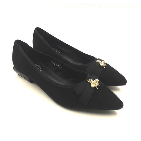 Black Suede Chunky Pumps Flat