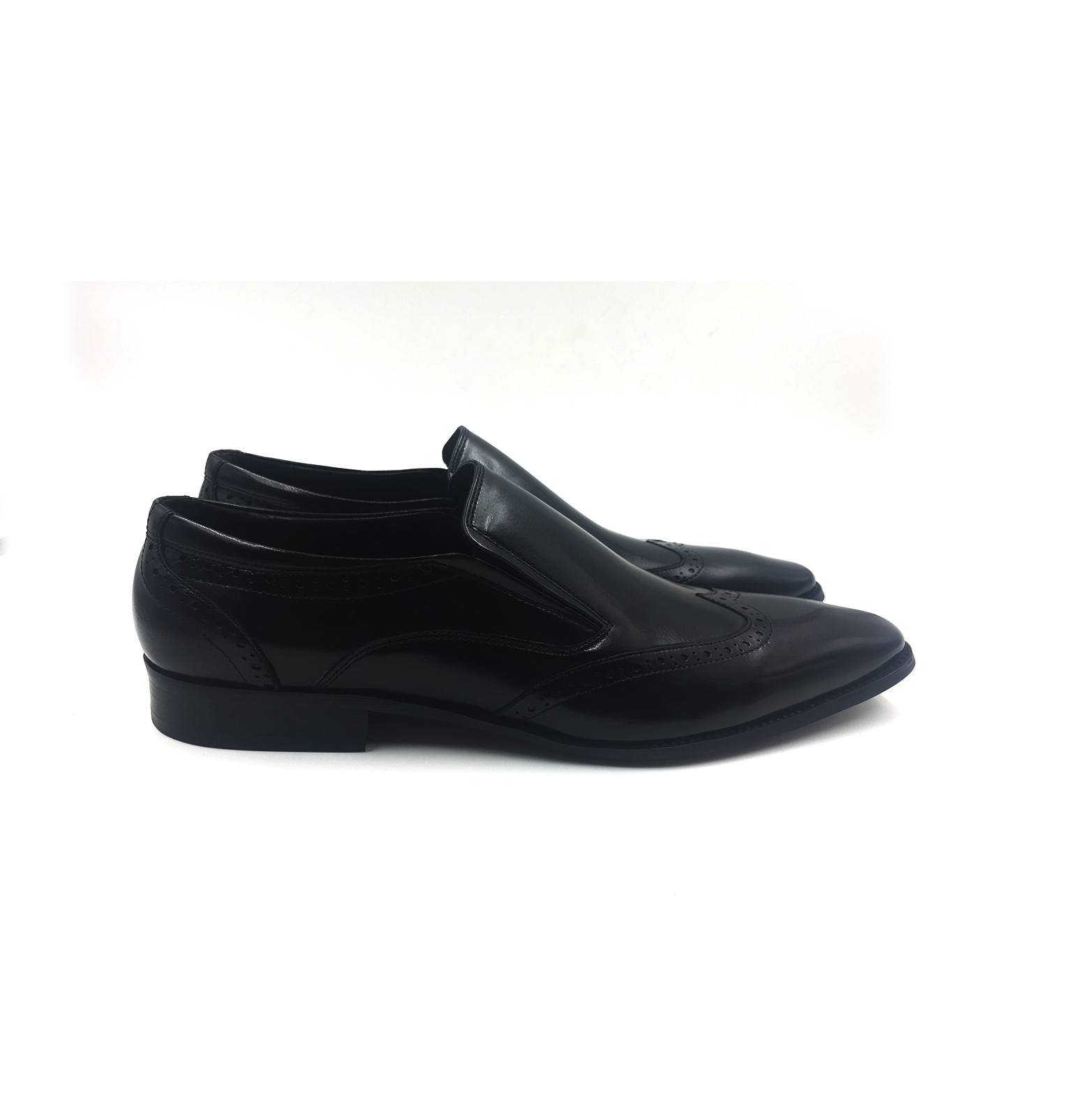 Black Wingtip Slip On