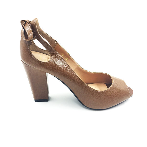 Open Toe Brown Block Pump Heel