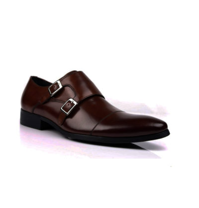 Burgundy Brown Double Monkstrap Slip On