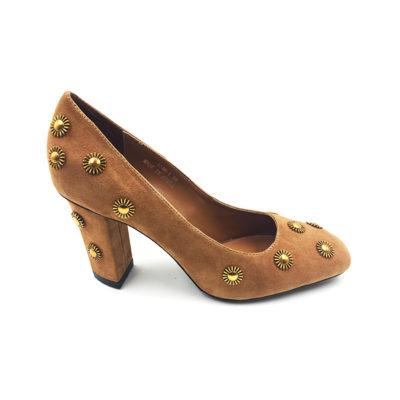 Brown Suede Block Pump Heel