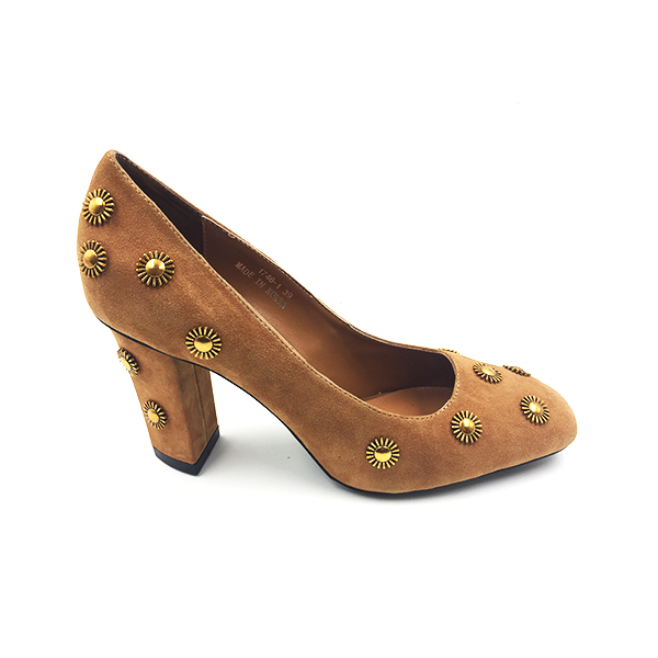 Brown Suede Block Pump Heel