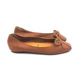 Brown Textured Ballerina Bow Flat Shoes