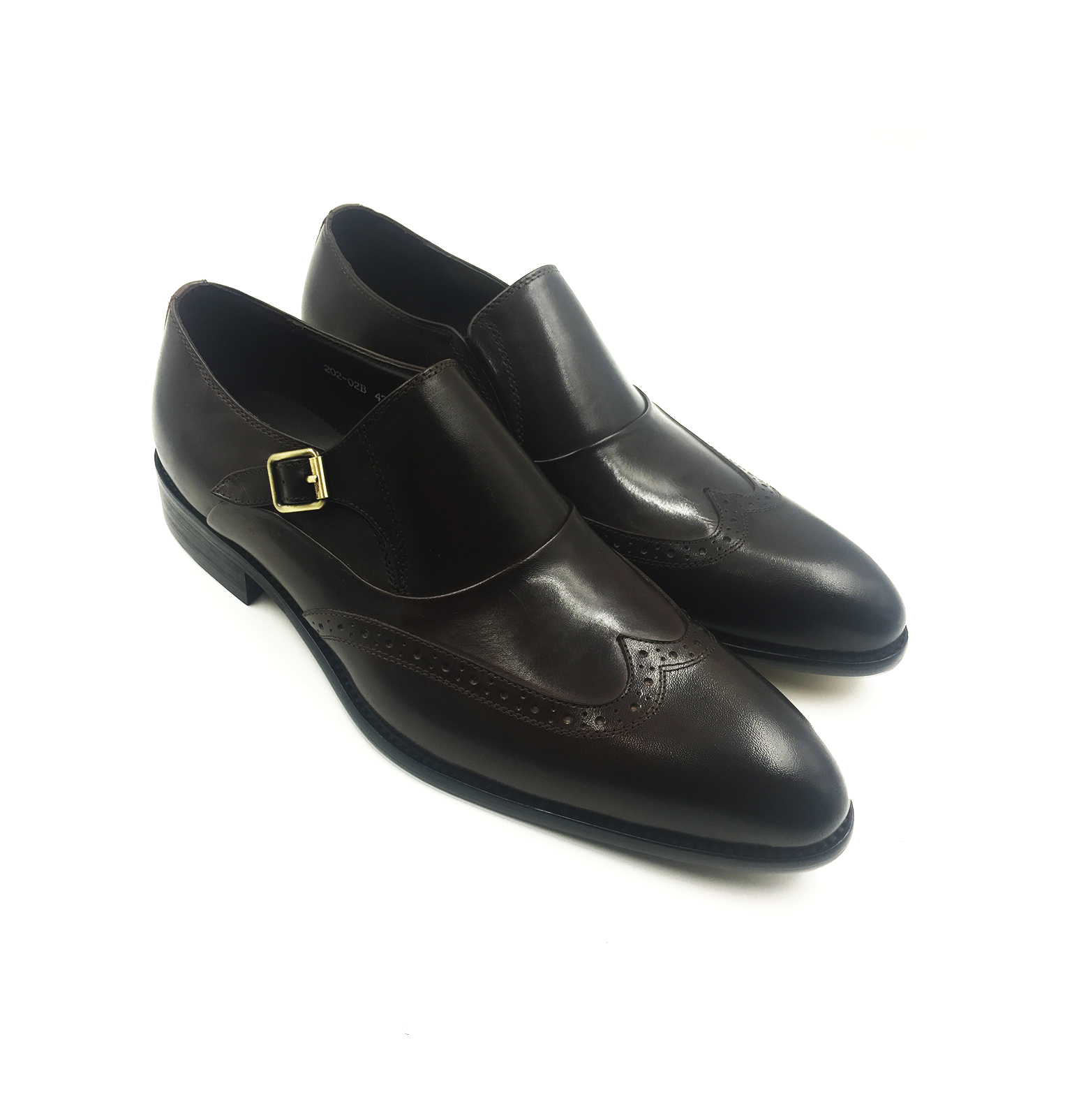 Black Wingtip Monkstrap Slip On