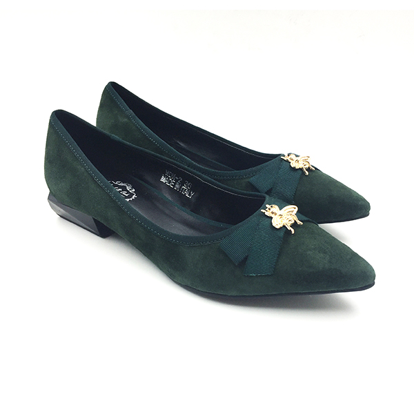 Green Suede Chunky Pumps Flat