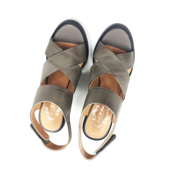 grey chunky block sandal pumps