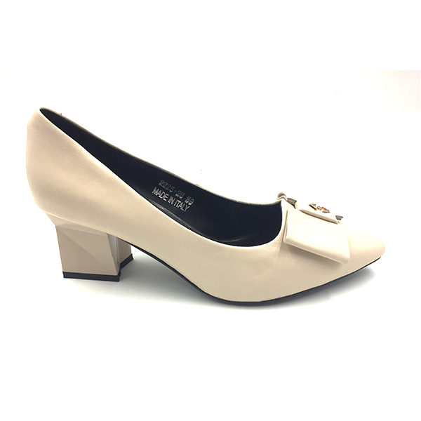 Nude Leather Block Pump Heel