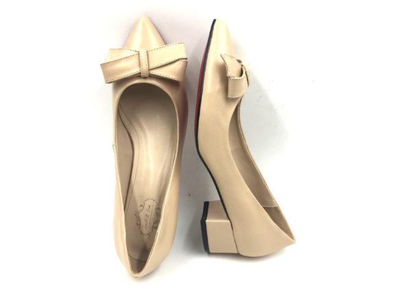 nude-leather ribbon block heels