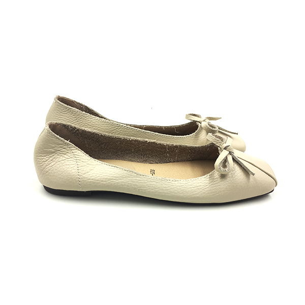 Nude Textured Ballerina Bow Flat Shoes